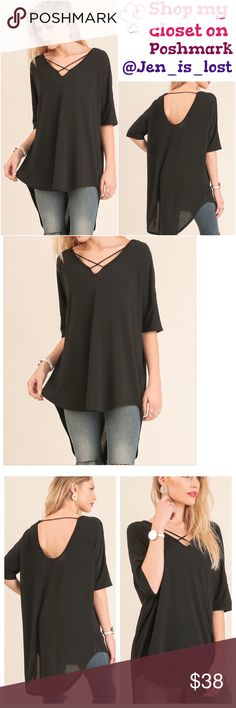 Black V-Neck Tunic 1/2 Sleeve V Neck Criss Cross Neckline Tunic with Open Back Details  Fabric: COTTON BLEND Tops Tunics