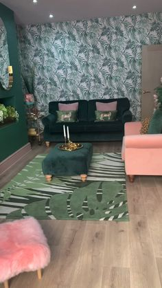 My pink and green living room was inspired by my stay in an Art Deco hotel in Miami, I loved the opulence of its decor mixed with the tropical palms of Ocean beach. My vintage sideboard makeover also adds to the vibe along with gold accents.