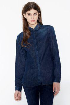 Closed | Fringed Collar Denim Shirt | Shop