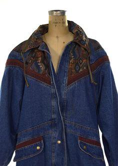 Southwestern Denim & Tapestry Jacket / Ranch Coat by SpunkVintage