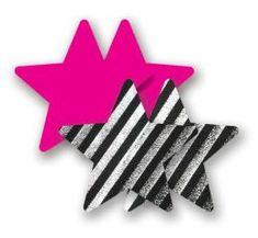 NIPPIES Neon Pink Metallic Silver Black Striped Cross Waterproof Self Adhesive Fabric Nipple Cover Pasties