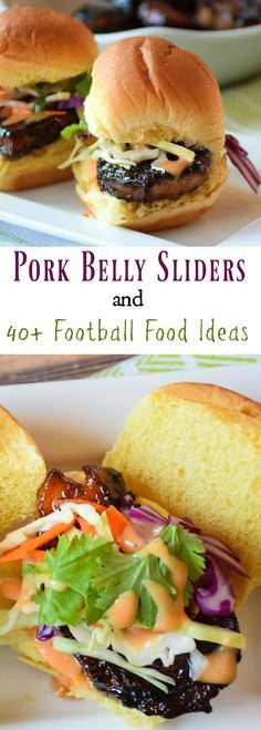 Crispy Pork Belly Sliders, melt in your mouth delicious and perfect finger food for your game day party! Great Recipes, Dinner Recipes, Favorite Recipes, Snack Recipes, Yummy Recipes, Pork Belly Recipes, Slider Recipes, Sandwich Recipes, Sandwiches