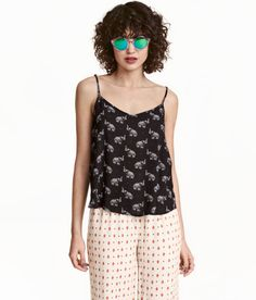 Crinkled Camisole Top | Black/elephants | Ladies | H&M US