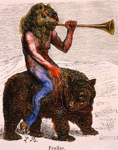 The demon Pruflas, with lion's head, who generally appears at conjuration blowing a trumpet, and riding a bear-like creature. From Collin de Plancy's 'Dictionnaire Infernal' [1863].