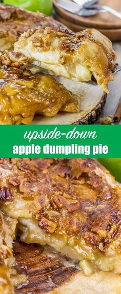 Take a pie and turn it upside down! This Upside Down Apple Dumpling Pie is loaded with apples and has a brown sugar pecan syrup baked into the crust. apple pie recipe / fall dessert recipe / thanksgiving dessert / delicious pie recipe via @tastesoflizzyt