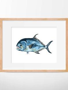 Permit Fish Print Sport Fishing Permit Art Fishing by HippieHoppy