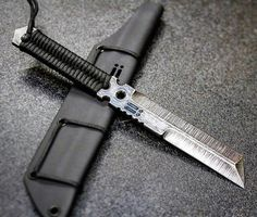 Integrity Implements Triton Gen 2 in 5160 steel with HGL-OX finish, triple hollow grinds and paracord wrap Cool Knives, Knives And Swords, Unique Knives, Collector Knives, Tactical Knives, Tactical Gear, Kydex Sheath, Glass Breaker, Fire Powers