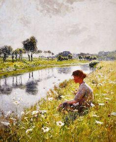 『レイエ河畔に座る少女(Girl Sitting along the River Leie)』1892年頃