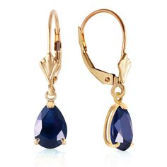 3 Carat 14K Solid Gold Leverback Earrings Sapphire. Manufacturer's appraisal is available upon request. Item comes with tag without retail price. Tag with retail price is available upon request. Gemstone is natural and may vary in color. Picture may appear bigger than the actual item. Please read the product description and specifications. Available in Yellow, White and Rose Gold. Elegantly presented in a black velvet jewelry box. Made in USA.