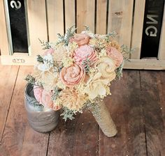 Handmade Alternative Wedding Bouquet - Ivory Blush Nude Bridal Bridesmaid Bouquet, Sola Flower, Natural Bouquet, Keepsake Bouquet