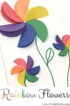 These construction paper rainbow flowers are perfect diy paper flowers for your kids to make! Use these fun paper flowers for a great Mother's Day card, Spring craft, or to practice scissor skills and rainbow order. #artsandcrafts