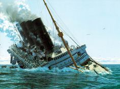 Le naufrage du Lusitania Rms Titanic, Abandoned Ships, World War One, Made In France, Shipwreck, Ship Art, Submarines, Sailing Ships, Underwater