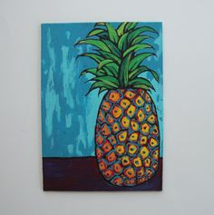 Original pineapple art, colorful funky fruit painting, cottage decor, food artwork, small canvas, unique gifts by TracyMcGeheeArtist on Etsy