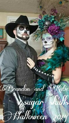 These are our Sugar skull costumes from Halloween 2014! I was so happy with the way they turned out :) #sugarskull #couplescostume #halloween