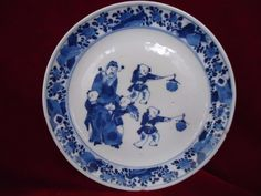 Rare Antique Chinese 18thC KangXi Blue & White Porcelain Plate | eBay