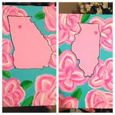 DIY dorm decorations marking hometowns of roommates.