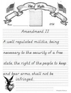 Bill of Rights Copywork in Manuscript format #homeschool