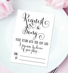 Request A Song Cards 3 5 X Diy Printable Bella