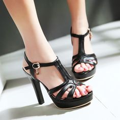 Women Sandals T Straps Buckle Pumps Platform High-heeled Shoes