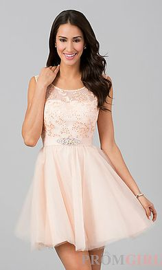 Sleeveless Short Party Dress at PromGirl.com
