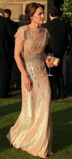 Kate Middleton in Jenny Packham attends a charity gala dinner at opulent Houghton Hall. #bestdressed