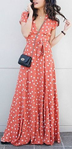 Love the breezy flow of this TULAROSA wrap maxi dress with delicate pleats and a polka-dot print. Cap sleeves. Unlined. #maxidress #TLad