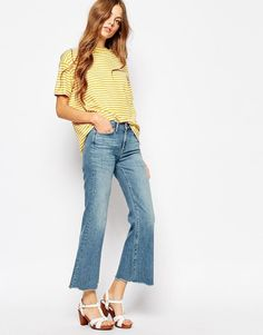 MiH Jeans | M.i.h Jeans Lou Crop Bell Bottom Jeans With Raw Edge at ASOS