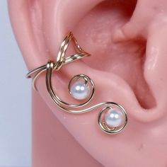 14k Gold Filled Ear Cuff  Rose Gold Ear Cuff by WireYourWorld