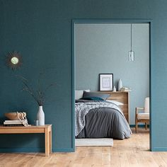 - Get out of time in this soothing tinted bedroom. Teal Linen Wallpaper, Nautical Wallpaper, How To Hang Wallpaper, Retro Wallpaper, How To Make Curtains, Made To Measure Curtains, Green Interior Design, Animal Print Wallpaper, Casamance