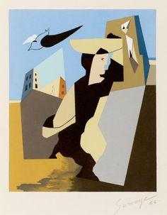 LEOPOLD SURVAGE PORTEUSE, 1953 Gouache au pochoir .