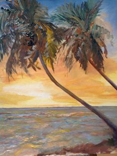 """Painting by PAPOH member Anna Gail Campanelli. Painting is called """"Two Palms"""", 14x18, oil on panel, $800"""