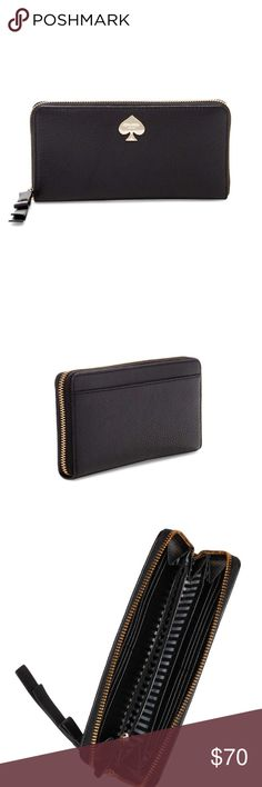 """Kate Spade Leroy Street Neda wallet Very gently used Kate spade Leroy Street Neda wallet in black leather. Zip around closure. Outside has a slip pocket. Interior features 12 card slots, 2 billfolds and zip pocket. Gold tone hardware. Very roomy wallet! 4""""H X 7.5""""W X 9.75""""D. Fabric lining. No trades. kate spade Bags Wallets"""
