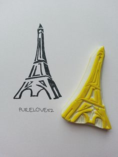 Silhouette Paris Eiffel Tower hand carved rubber by PURELOVE52, $16.26