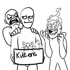 Me shouting for the kittens, Dirk with a kitten on his face, and Gamzee holding the cats.