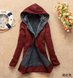Hooded Thick Long Sleeves Pure Color Slim Mid-length Coat