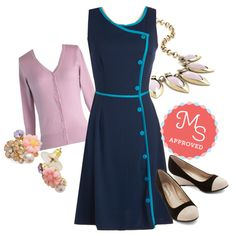 In this outfit; Chord-ially Yours Dress, Charter School Cardigan in Lavender, In Dew Time Earrings in Morning, Coffee Shop Celebration Necklace in Rose, Conference to Cocktails Wedge #retrodress #florals #cardigans