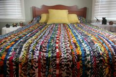 Queen Duvet Cover - Batik Bedspread - African Tribal Detailed Patchwork Bohemian Wax Print. $250.00, via Etsy.