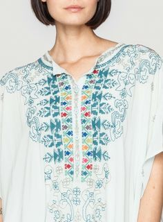 Details: Johnny Was Biya Embroidered Silk Kimiko Kaftan in Light Blue #needlepoint #border #decorative #geometric #embroidery #design