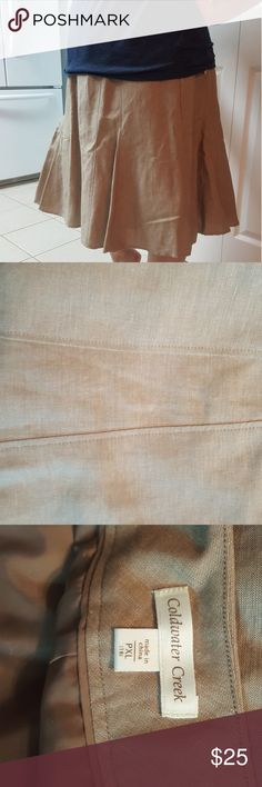 """NWT Cold water Creek Linen Khaki Skirt Very light, whisky and feminine. I'm 5'2"""" and it comes way below my knees, even though it says petite. NWT. 18 Petite Coldwater Creek Skirts A-Line or Full"""
