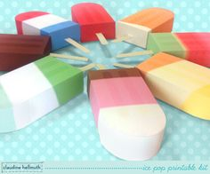 printable ice pop favor boxes from Claudine Hellmuth - so cute for a summer kids' party