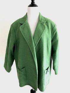 c4560878c46c5 Talbots Womens Swing Blazer Plus Size 20W Green Open V-neck 3 4 Sleeves