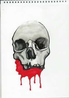 Skull, tattoo, Black, Grey, Red, projekt