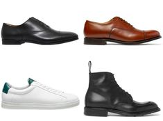 We break down what shoes go with every pair of pants in your wardrobe - whether they're suit trousers, shorts, chinos or jeans. Black Oxfords, Brogues, Trouser Suits, Trousers, Yeezy, Sauce Sriracha, Leather Boots, Patent Leather, Minimalist Sneakers