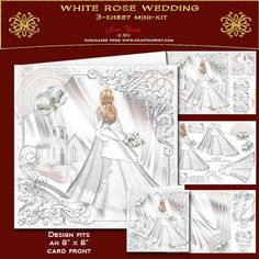 White Rose Wedding on Craftsuprint designed by June Young - A bride in a beautiful dress carrying her bouquet, set in a lace surround with a silver frame with corner swirls and embellished with a wedding fan and white roses. The kit includes a matching gift card front, a panel for the inside of the card front, a matching insert, decoupage for the lady and roses and six greetings panels, two are blank for your own use. There is a larger panel for you to add your name under the 'Handmade By'…