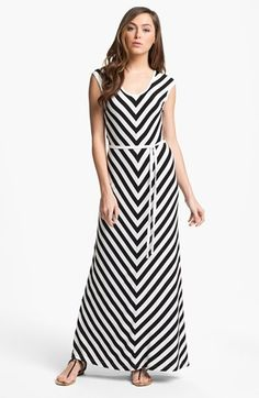 Calvin Klein Belted Stripe Maxi Dress