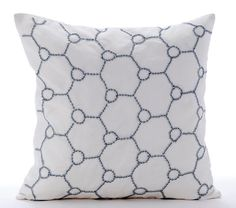 Muted Silver Balls - 16x16 Inch Sequins Embroidered White Linen Throw Pillow.