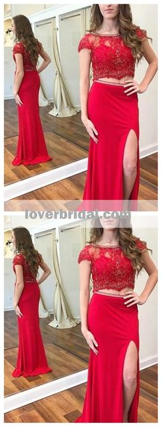 Red Two Pieces Cap Sleeves Side Slit Mermaid Long Evening Prom Dresses, 17608