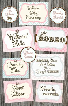 Set of 10 Signs, Cowgirl, Rodeo, Horse Party, Roundup, Country, Shabby Chic,   Instant Download, DIY, Printables