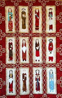 "The Mission Saints of California, 36.5"" x 56.5"",  designed by Kokopelli Quilting Company and Elizabeth Whitehead.  Includes 12 different saints each 4"" x 16"". Available at Creative Quilt Kits"