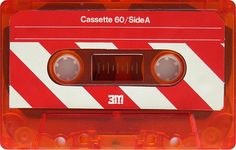 Cassette with red translucent casing :) and red barber pole / candy cane stripes Casette Tapes, Vhs Cassette, Magnetic Tape, Cult, Nintendo, Retro Design, Mixtape, Vinyl Records, Nostalgia